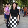 Mouna Ayoub arrive au Grand Palais pour le défilé Giambattista Valli haute couture automne-hiver 2013-2014. Paris le, 1er juillet 2013.