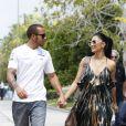Lewis Hamilton et sa compagne Nicole Scherzinger lors du Grand Prix de Malaisie le 24 mars 2013 à Kuala Lumpur