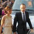 Andres Iniesta avec sa femme Anna Ortizau mariage de son coéquipier Xavi à Blanes le 13 juillet 2013.
