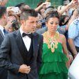 David Villa avec sa femme Patricia Gonzalezau mariage de son coéquipier Xavi à Blanes le 13 juillet 2013.