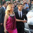 Pedro Rodriguez avec sa petite amie Carolina Martinau mariage de son coéquipier Xavi à Blanes le 13 juillet 2013.