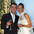 Xavi Hernandez et Nuria Cunillera lors de leur mariage à Blanes, le 13 juillet 2013.