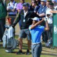 Lindsey Vonn assistait avec bonheur à l'entraînement de son compagnon Tiger Woods au Muirfield Golf Club, East Lothian en Ecosse le 17 juillet 2013