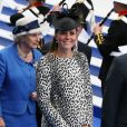 Kate Middleton, le 13 juin 2013 à Southampton pour le baptême d'un bateau de croisières, sa dernière mission officielle avant la naissance de son premier enfant.