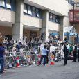 Devant l'hôpital St Mary de Londres le 22 juillet 2013, pendant l'accouchement de Kate Middleton.