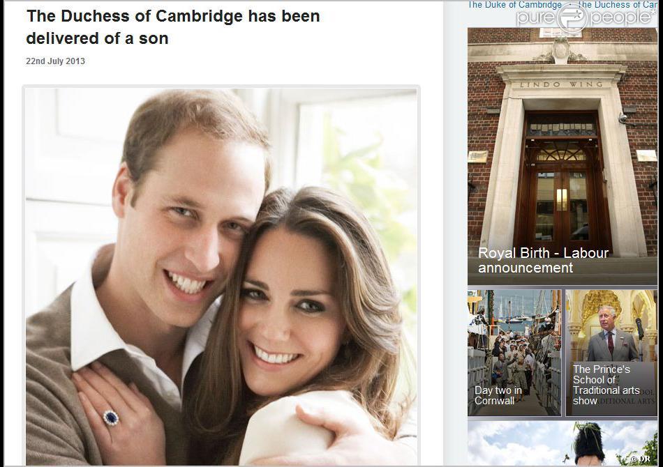 Kate Middleton a accouché le 22 juillet 2013 à 16h44 (17h44 heure française) d'un petit garçon, titré prince de Cambridge, qui pesait 3,8 kilos. Le prince William était présent à l'hôpital St Mary.