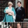 A 31 ans d'intervalle, à la sortie de la maternité de l'aile Lindo de l'hôpital St Mary à Londres : la princesse Diana et le prince Charles avec leur fils le prince William de Galles, le 22 juin 1982, et Kate Middleton et le prince William avec leur fils le prince George de Cambridge, le 23 juillet 2013.