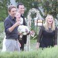 Kristen Bell et son fiancé Dax Shepard au mariage de Jimmy Kimmel et Molly McNearney à Ojai, le 13 juillet 2013.