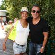 Jean-Roch et sa compagne Anaïs Monory (enceinte) lors des Internationaux de France de Roland Garros à Paris, le 7 juin 2013.