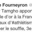 """Tweet de félicitations de la ministre des Sports Valérie Fourneyron à Teddy Tamgho pour son titre de champion du monde du triple saut à Moscou le 18 août 2013. Malheureusement, elle se trompe et l'appelle... """"Thierry"""" Tamgho."""