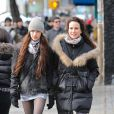 Andie MacDowell avec sa fille Sarah Margaret à New York le 4 février 2012
