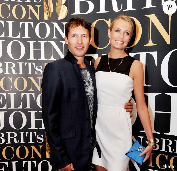 James Blunt et sa compagne Sofia Wellesley - Remise du Brits Icon Award à Elton John, au London Palladium à Londres, le 2 septembre 2013.