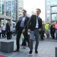 EXCLU : Bertrand Chameroy et Camille Combal lors de l'arrivée sur le plateau de la première de Touche pas à mon poste sur D8 le 2 septembre 2013