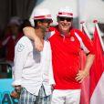 Le prince Albert II de Monaco, ici avec l'apnéiste Pierre Frolla, et la princesse Charlene, associés à Dylan Rocher et Daniel Elena, ont remporté le 5 septembre 2013 le tournoi Peace and sport pro/am organisé à la veille de la finale des Masters de Pétanque de Monaco 2013 sur la place du palais princier.
