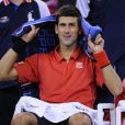 Novak Djokovic, battu en finale de l'US Open par Rafael Nadal, le 9 septembre 2013 à Flushing Meadows
