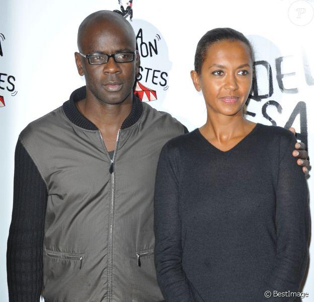 Lilian Thuram et Karine Le Marchand lors du 51e Gala de l'Union Des Artistes à Paris le 12 novembre 2012