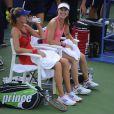 Martina Hingis au côté de Daniela Hantuchova lors de son grand retour à l'US Open à Flushing Meadows à New York le 30 août 2013