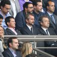 Michel Denisot et Manuel Valls lors du match de football PSG - Toulouse au Parc des princes, le 28 septembre 2013
