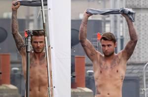 David Beckham : Suspendu et à moitié nu en plein Londres pour H&M
