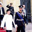 La reine Sonja et le prince Haakon secondaient le roi Harald V le 9 octobre 2013 à Oslo à l'inauguration du Parlement, qui dispose depuis la veille d'un nouveau président.