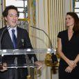 Guillaume Gallienne et Aurélie Filippetti au ministère de la culture à Paris, le 15 octobre 2013.