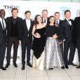 Idris Elba, Chris Hemsworth, Kat Dennings, Natalie Portman, Stellan Skarsgard, Christopher Eccleston et Tom Hiddleston, lors de l'avant-première du film Thor : Le Monde des ténèbres, le 22 octobre 2013 à Londres