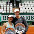 Lindsay Davenport et Martina Hingis à Roland-Garros à Paris le 8 juin 2013