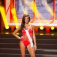 Miss Italie défile en maillot de bain pour la compétition 2014 Yamamay pour Miss Univers, au Crocus City Hall de Moscou en novembre 2013
