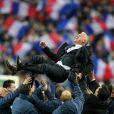 Didier Deschamps après la victoire de l'équipe de France face à l'Ukraine (3-0), qui la qualifie pour le mondial 2014 au Brésil, le 19 novembre 2013 au Stade de France à Saint-Denis