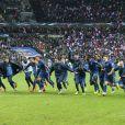 Les Bleus après la victoire de l'équipe de France face à l'Ukraine (3-0), qui la qualifie pour le mondial 2014 au Brésil, le 19 novembre 2013 au Stade de France à Saint-Denis