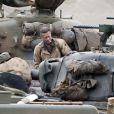 """Brad Pitt sur le tournage de """"Fury"""" au Royaume-Uni, dans le comté d'Oxfordshire le 30 septembre 2013"""