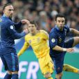 Franck Ribéry et Mathieu Valbuena lors de la qualification pour la prochaine Coupe du Monde au Brésil en battant l'Ukraine 3- 0 au Stade de France le 19 novembre 2013.
