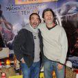 Bruno Solo et Serge Hazanaviciuslors de la présentation de la nouvelle attraction du Futuroscope consacrée aux Lapins Crétins à Poitiers le 7 décembre 2013.