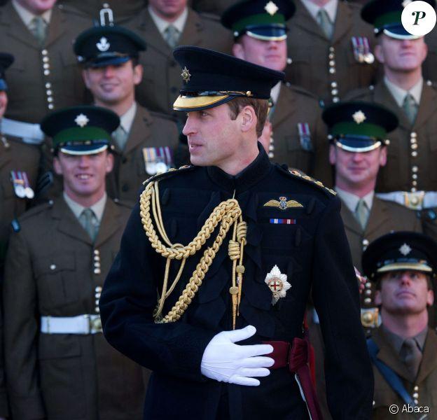 Le prince William lors d'une revue des troupes et d'une remise de médailles à Aldershot le 6 décembre 2013