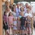 La famille royale d'Espagne en août 2011 pour les 40 ans de la princesse Letizia