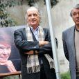 """Jean-Christophe et Gilbert Mitterrand à l'inauguration du square """"Danielle Mitterrand"""" au 20 rue de Bièvre à Paris le 8 mars 2013."""