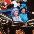 La reine mère et la princesse Margaret lors du mariage du prince Charles et de Lady Di le 29 juillet 1981