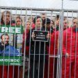 Marion Cotillard ne lâche rien et milite devant le Palais Royal à Paris, en faveur des militants de Greenpeace retenus en Russie, le 15 novembre 2013.
