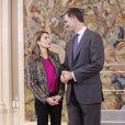 Felipe et Letizia d'Espagne assuraient diverses audiences à la Zarzuela le 8 janvier 2014, au lendemain de l'annonce de la mise en examen de l'infante Cristina