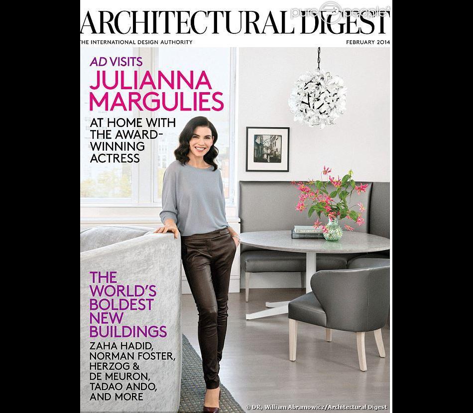 Julianna Margulies pose dans son appartement de New York, pour le magazine Architectural Digest, édition de février 2014.
