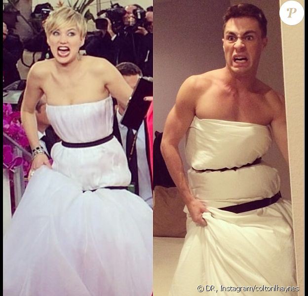 Colton Haynes a parodié la robe de Jennifer Lawrence lors des Golden Globes le 12 janvier 2014