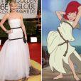 La robe de Jennifer Lawrence aux Golden Globes 2014 rappelle certaines choses... comme celle d'Ariel la Petite Sirène de Disney