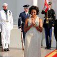 Michelle Obama, ravissante pour recevoir Angela Merkel à la Maison Blanche. Washington, juin 2011.