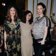 Aurélie Saada, Sylvie Hoarau et Audrey Marnay, enceinte,assistent au défilé haute couture Alexis Mabille printemps-été 2014 à l'Hôtel d'Evreux. Paris, le 20 janvier 2014.
