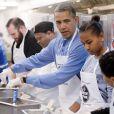 Barack Obama avec sa fille Sasha lors du Martin Luther King Day, le 20 janvier 2014 à Washington