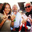 Jenson Button, sa compagne Jessica Michibata et son père John, mort le 12 janvier 2014