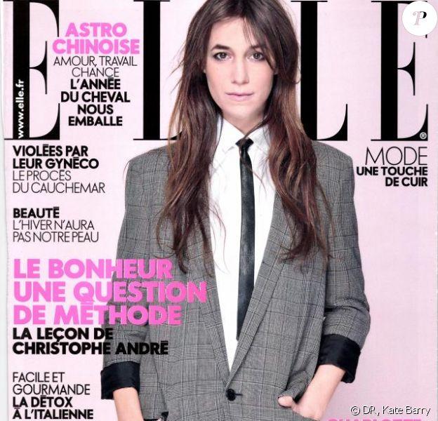 Charlotte Gainsbourg photographiée par sa soeur Kate Barry, un cliché qui fait la couverture du magazine Elle du 24 janvier 2014