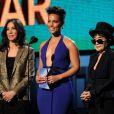 Olivia Harrison, Alicia Keys et Yoko Ono - 56e cérémonie des Grammy Awards, à Los Angeles le 26 janvier 2014.