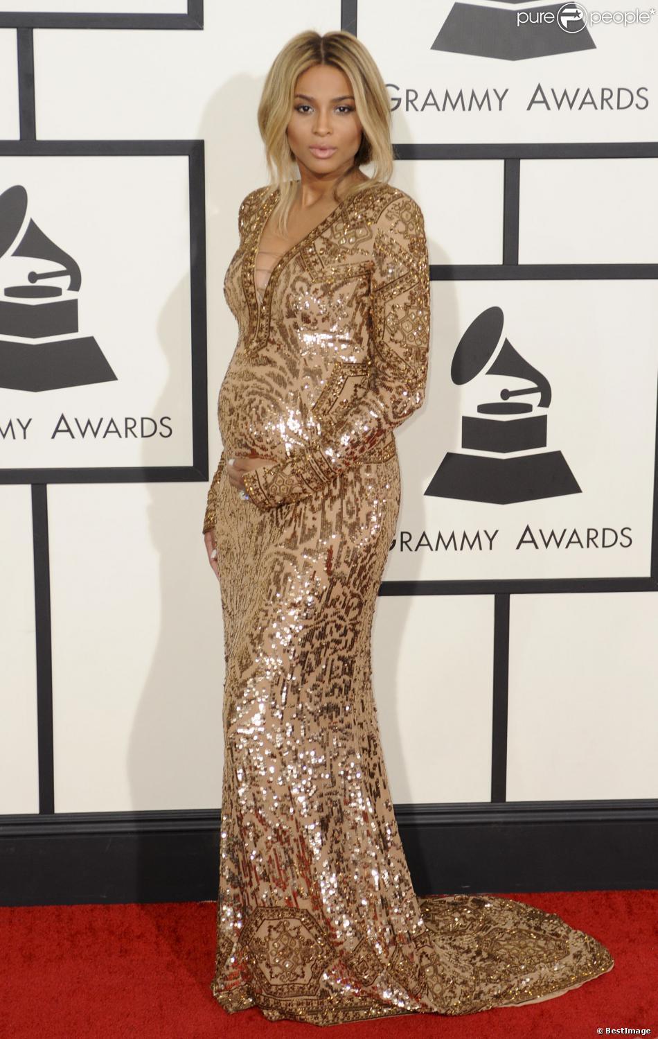 La chanteuse Ciara (enceinte) lors de la 56e cérémonie des Grammy Awards à Los Angeles, le 26 janvier 2014.