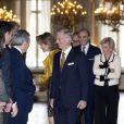 Le roi Philippe de Belgique et la famille royale arrivant pour la cérémonie des voeux du souverain aux corps constitués, le 29 janvier 2014 au palais royal, à Bruxelles.